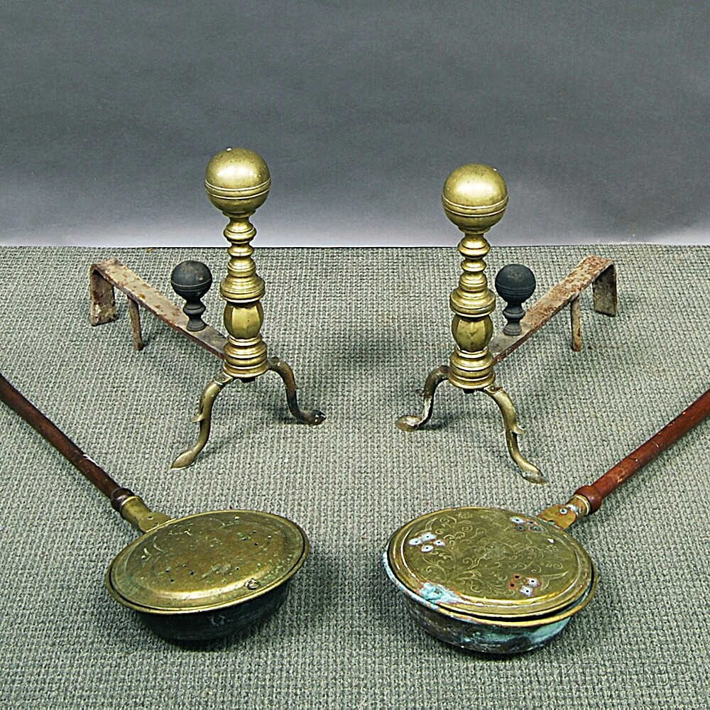 Two Brass Bedwarmers and a Pair of Brass Andirons