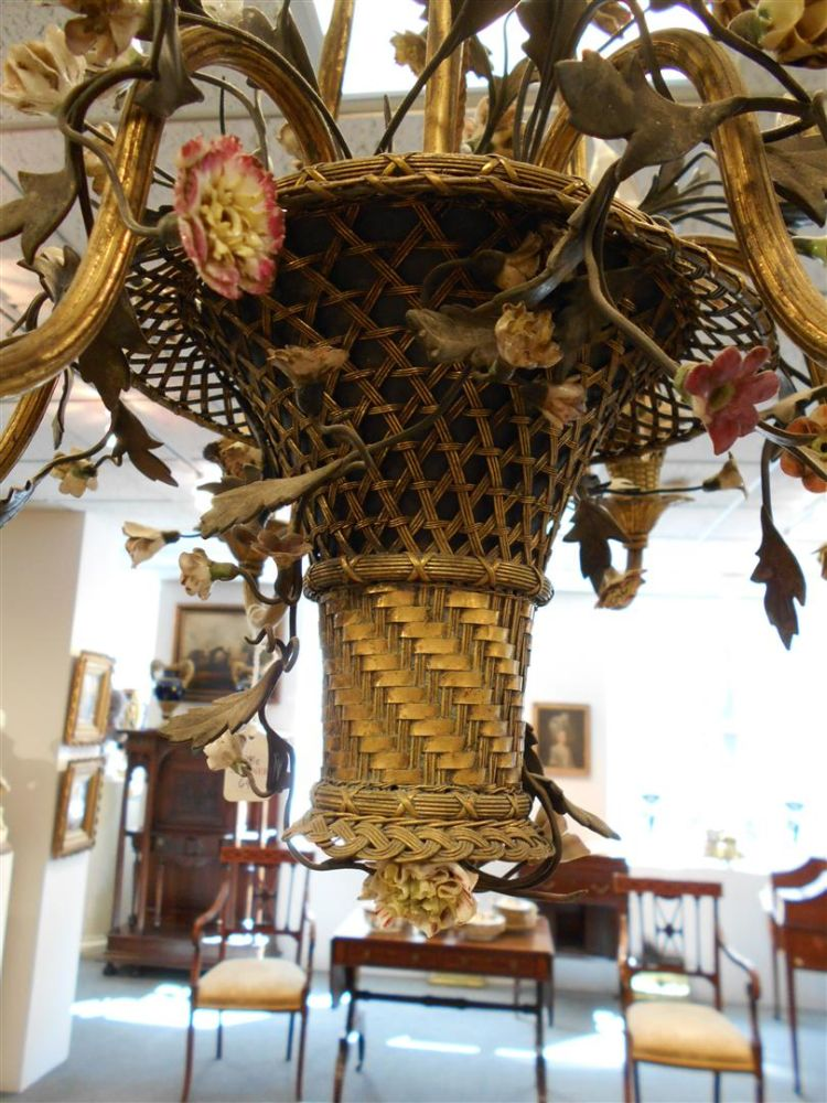 Porcelain-mounted Brass Six-light Chandelier