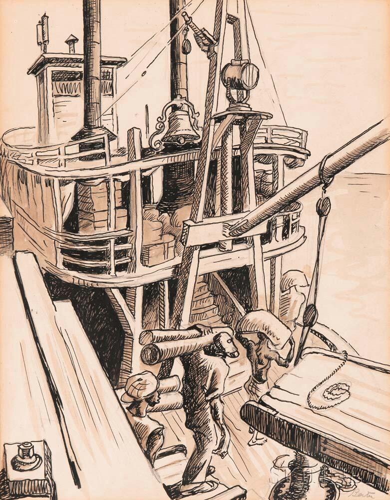 Thomas Hart Benton (American, 1889-1975)      Deckhands Loading Cargo at a Wharf