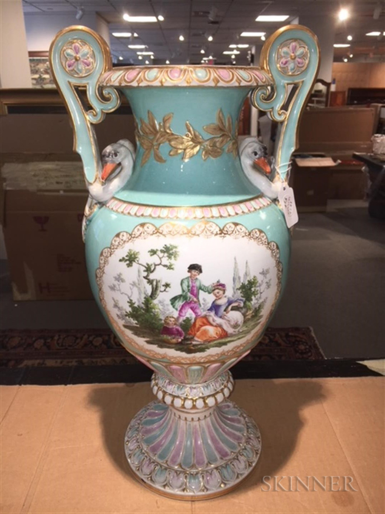 Meissen Porcelain Vase With Swan Handles Sale Number 3070b Lot
