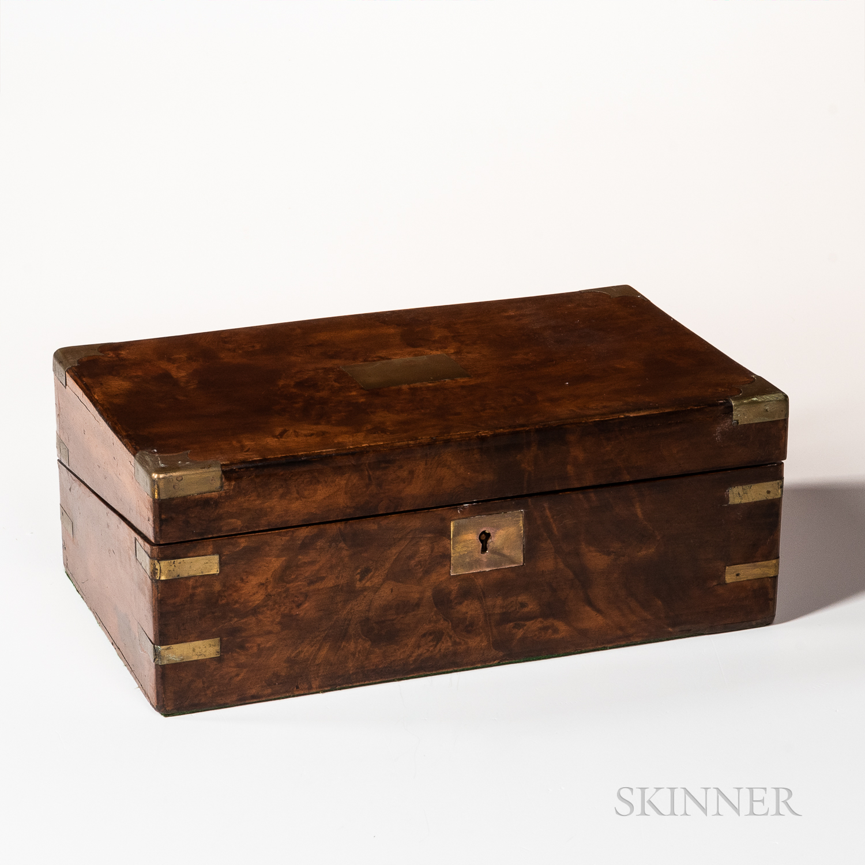 British Victorian Brass-bound Figured Walnut Lap Desk