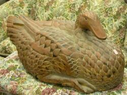 Large Asian Carved and Painted Wooden Goose.