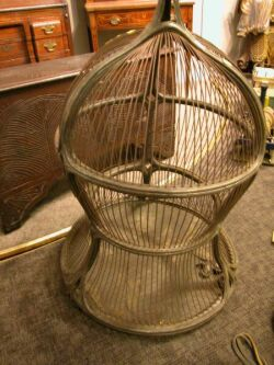 Large Carved Hardwood and Wire Birdcage.
