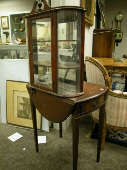 Federal-style Wall Display Case and a Small Mahogany Drop-leaf Pembroke Table.