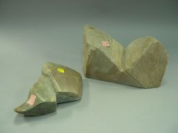 Two Stone Abstract Sculptures.