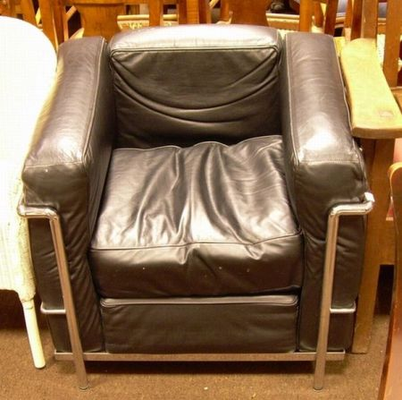 Corbusier-style Black Leather Upholstered Tubular Steel Cube Chair.