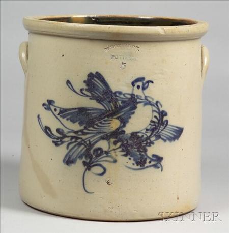 Five-Gallon Stoneware Crock with Three Cobalt Blue Birds