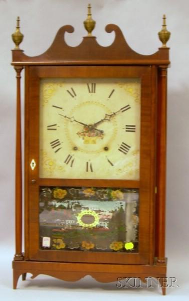 Mahogany Pillar & Scroll Clock