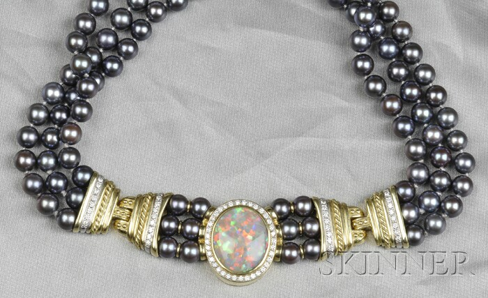 18kt Gold, Opal, Gray Cultured Pearl, and Diamond Necklace