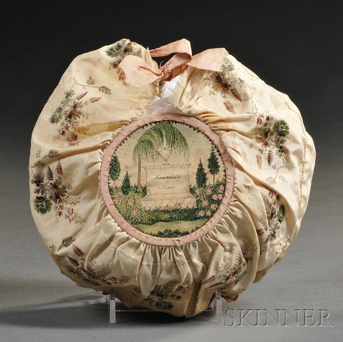 "Embroidered Silk and Watercolor on Paper ""Memento Mori"" Reticule"