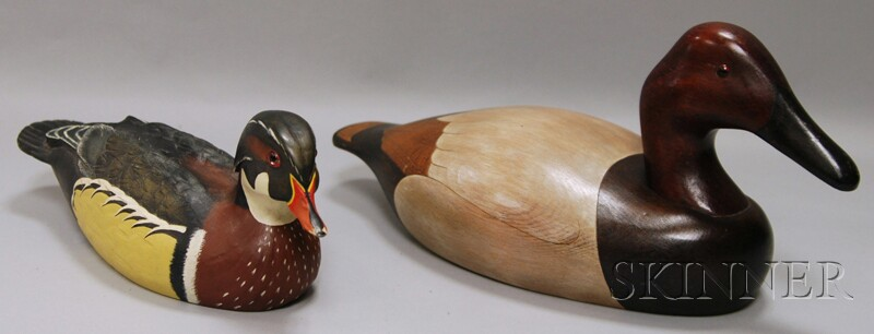 Two Carved and Painted Wooden Duck Decoys