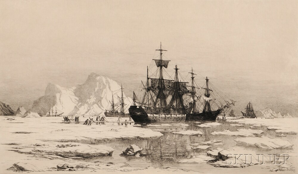 William Bradford (American, 1823-1892)      Arctic Explorers Cutting a Channel