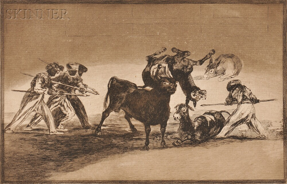 Francisco José de Goya y Lucientes (Spanish, 1746-1828)      The Moors Use Donkeys as a Barrier Against the Bull