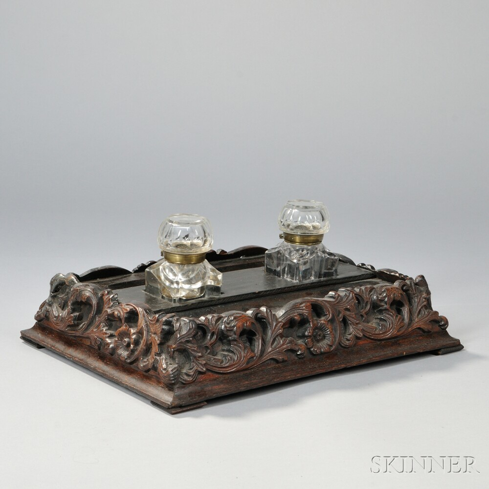 Carved Inkwell With Covered Glass Wells