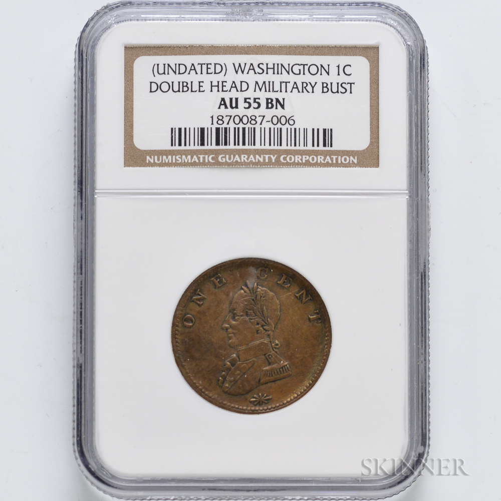 Undated Washington Double Head Cent, NGC AU55 BN.     Estimate $300-500