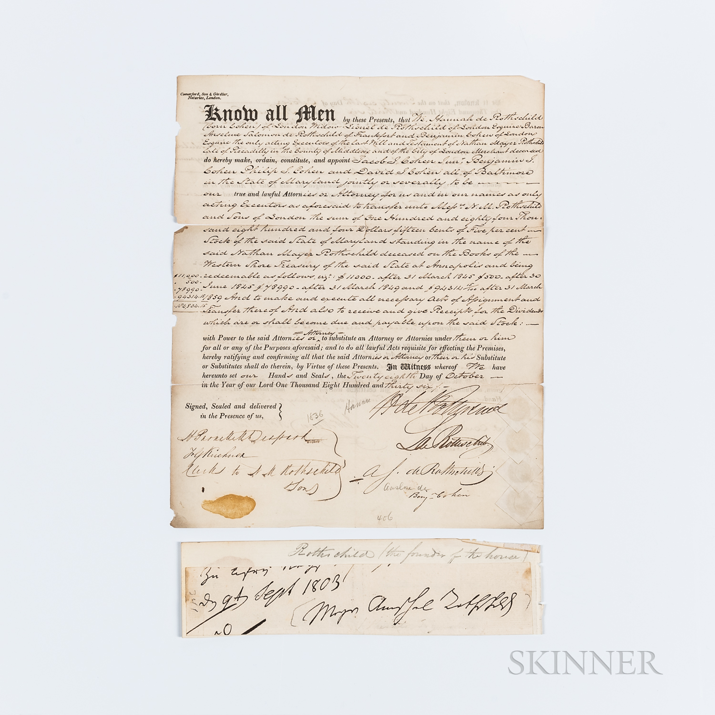 Rothschild Family Document Signed, London, U.K., 28 October 1836.