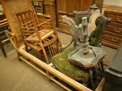 Three Victorian Chairs, a Piano Chair and a Caned Oak Chaise Lounge.