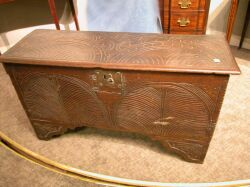 English Carved Oak Dower Chest.