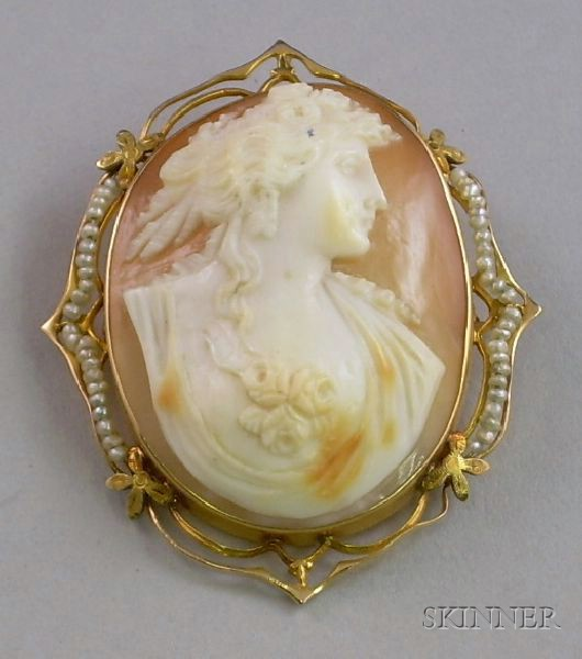Edwardian 10kt Gold and Seed Pearl Framed Shell Carved Brooch