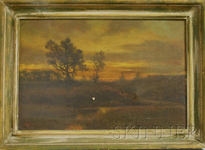 American School, 19th Century      Landscape with Figures on a Path at Dusk.