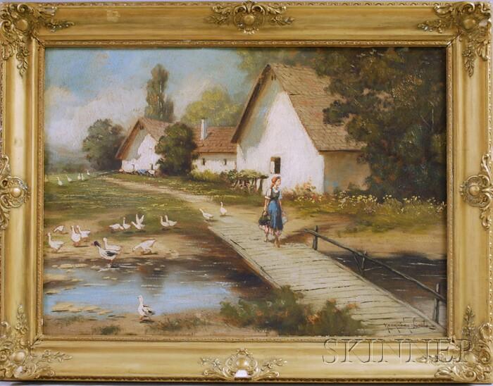 Laszlo Neogrady  (Hungarian, 1896-1962)      Hungarian Girl Walking over a Bridge