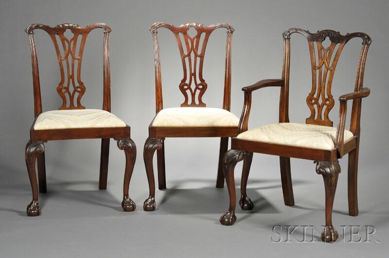 Ten Georgian-style Mahogany Dining Chairs