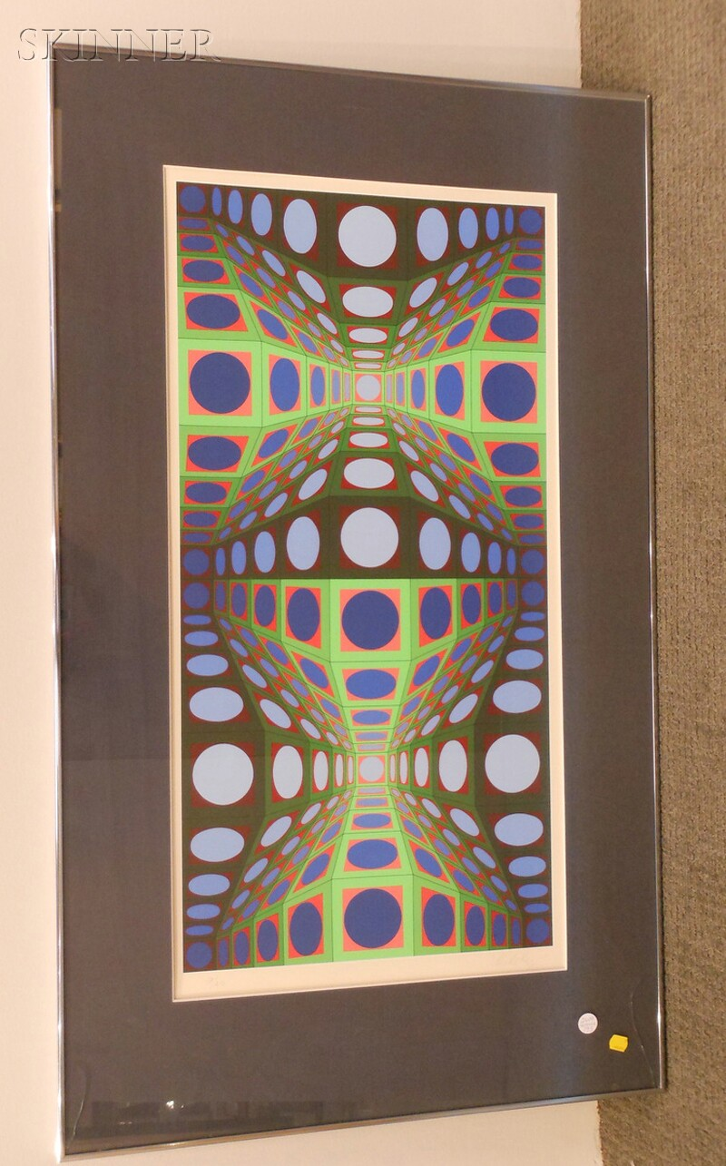 Victor Vasarely (Hungarian/French, 1906-1997)      Untitled (Green, Blue, Orange Vertical)