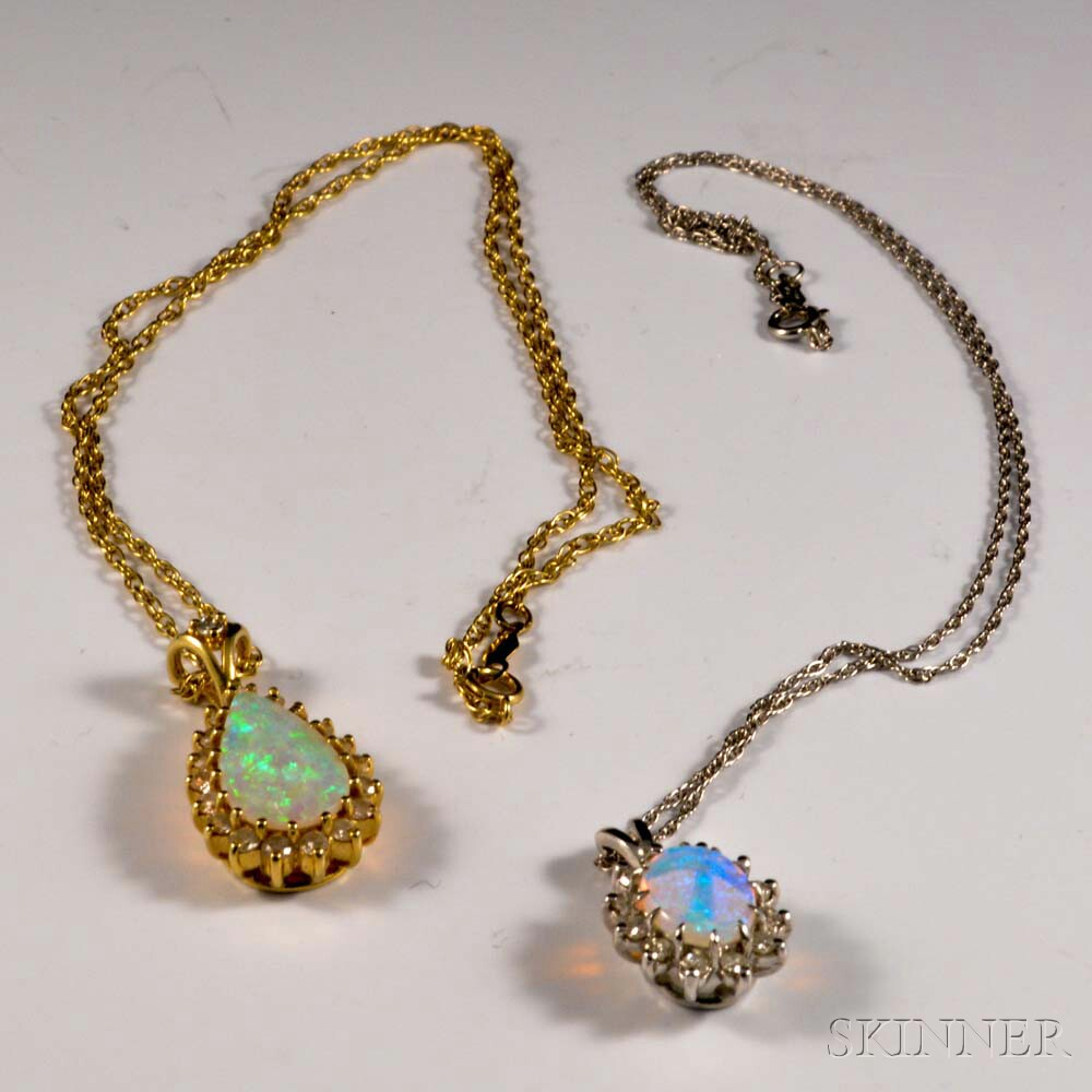 Two 14kt Gold, Opal, and Diamond Pendants