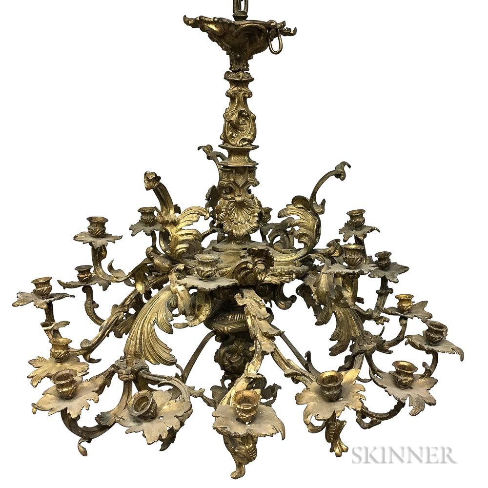 Rococo Revival Bronze Twenty-one-light Chandelier