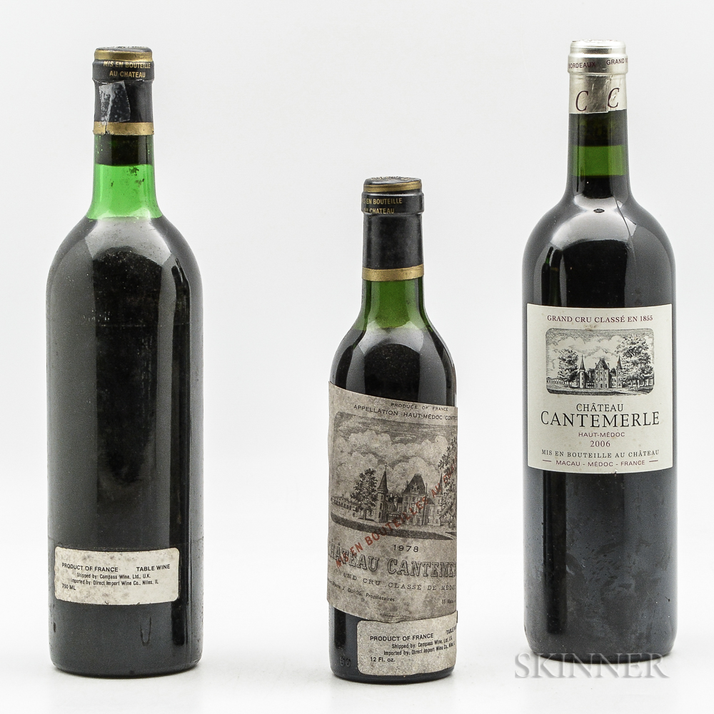 Chateau Cantemerle, 2 bottles 1 demi bottle
