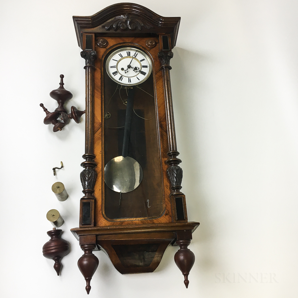Vienna Carved Walnut Regulator Wall Clock