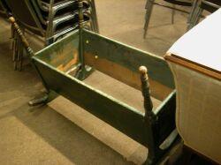 Green Painted Wooden Open Cradle.