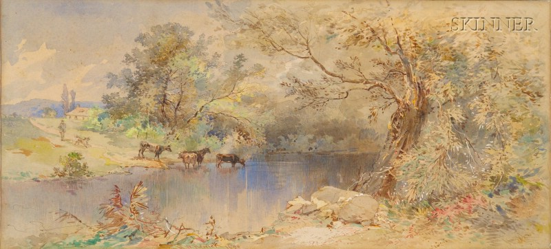 Henry W. Herrick (American, 1824-1906)      Cattle at the River's Edge