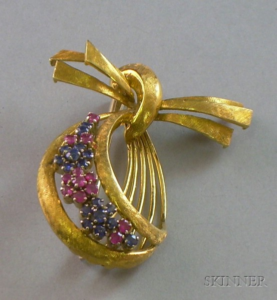 18kt Textured Yellow Gold, Ruby, and Sapphire Bow Brooch