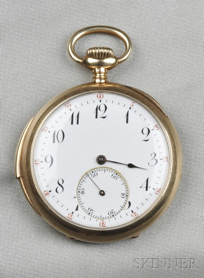 Antique 14kt Gold Open Face Minute Repeating Pocket Watch