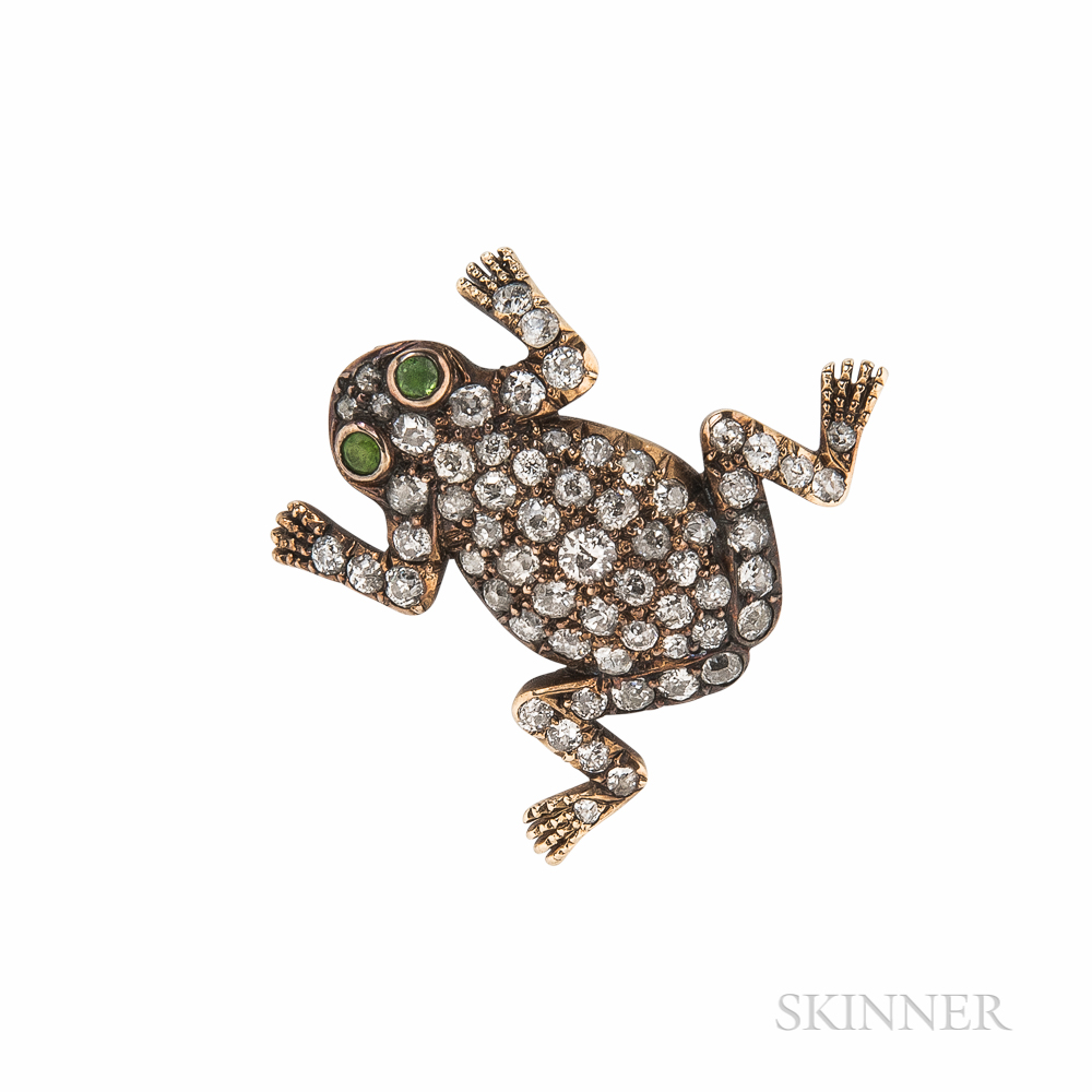 Antique Gold and Diamond Frog Brooch