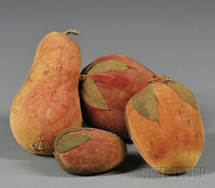 Four Fruit-form Velvet Pincushions