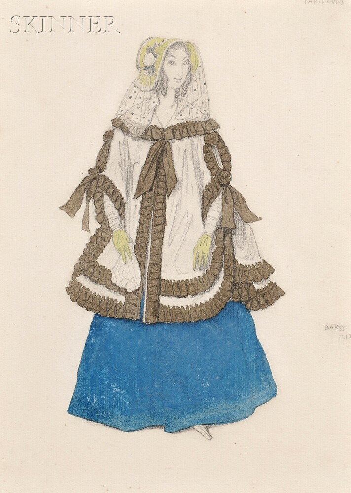 Léon Bakst (Russian, 1866-1924)      Costume Design for Papillons: Une Dame