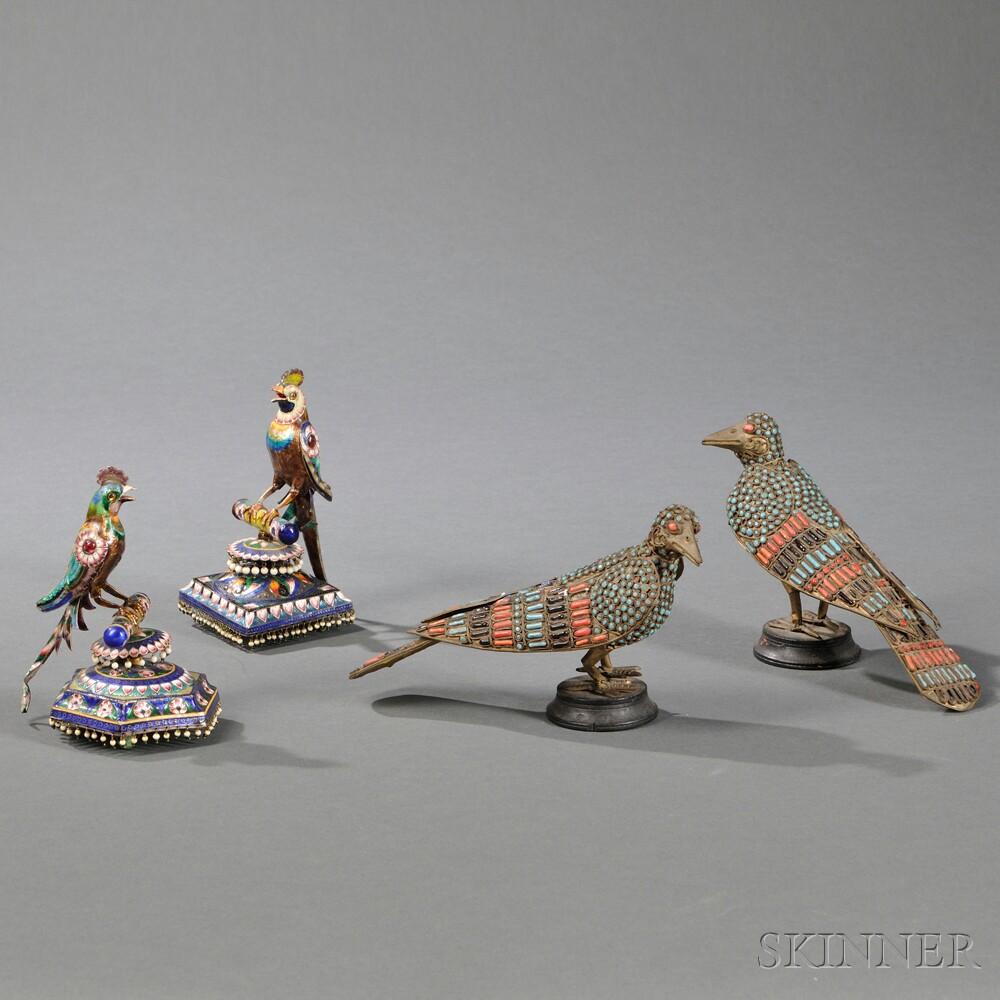 Four Enameled Birds