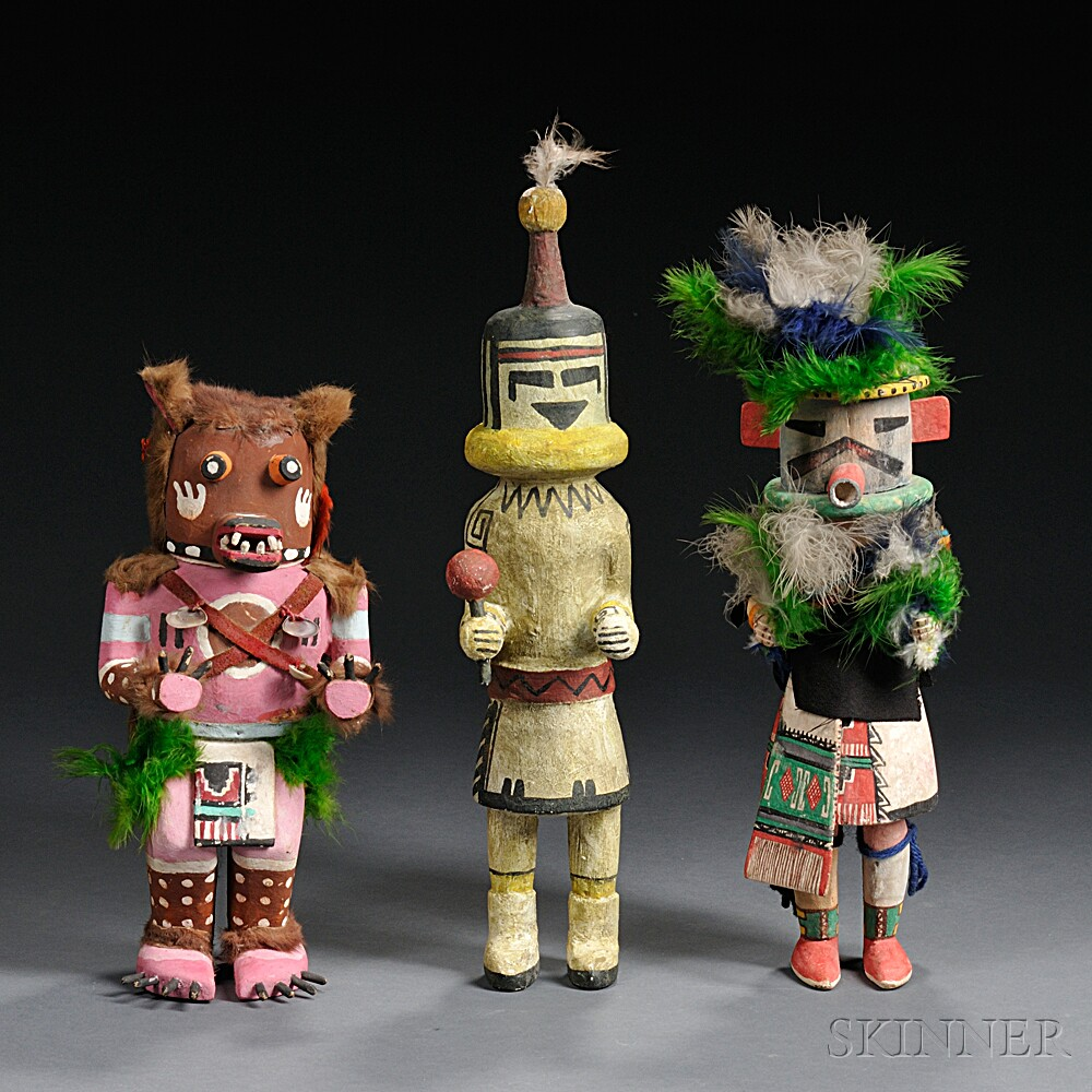 Three Southwest Polychrome Carved Wood Kachinas