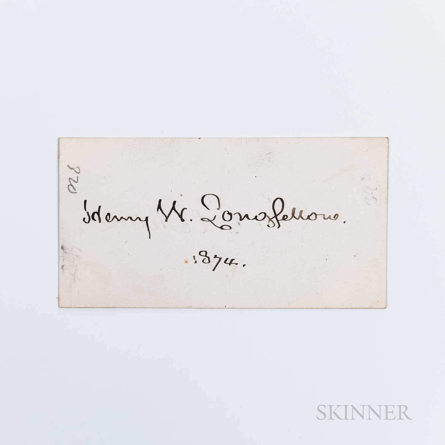 Longfellow, Henry Wadsworth (1807-1882) Signed Card, 1874.