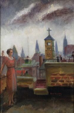 Harriet de Sanchez (American, 20th Century)  On the Rooftop, New York