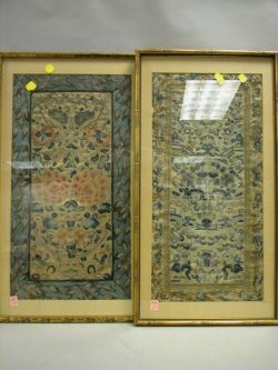 Two Framed Chinese Embroidered Silk Panels.