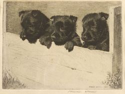 Morgan Dennis (American, 1892-1960)  The Three Graces/A Portrait of Black Puppies