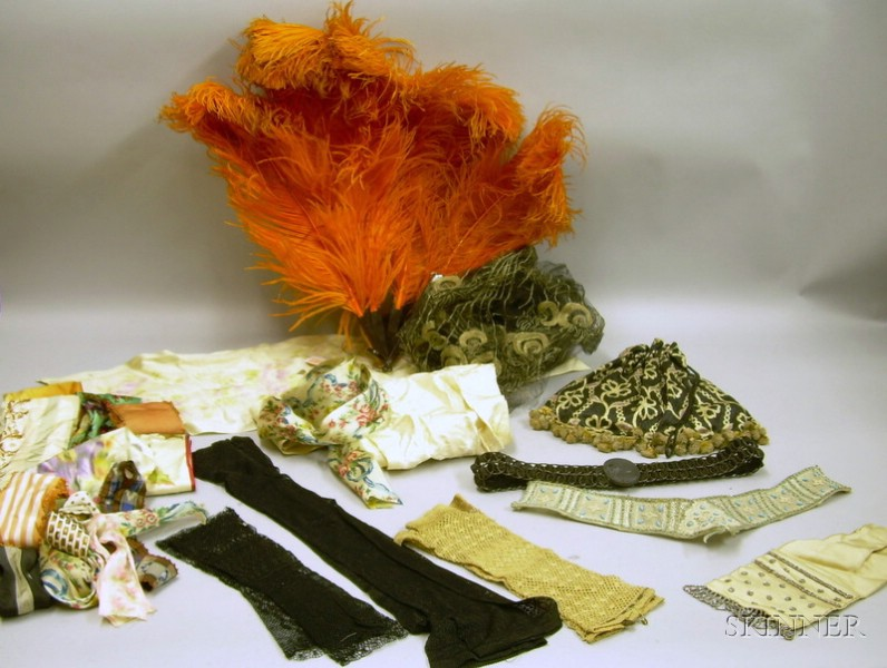 Group of Victorian and Later Accessories and Textile Fragments