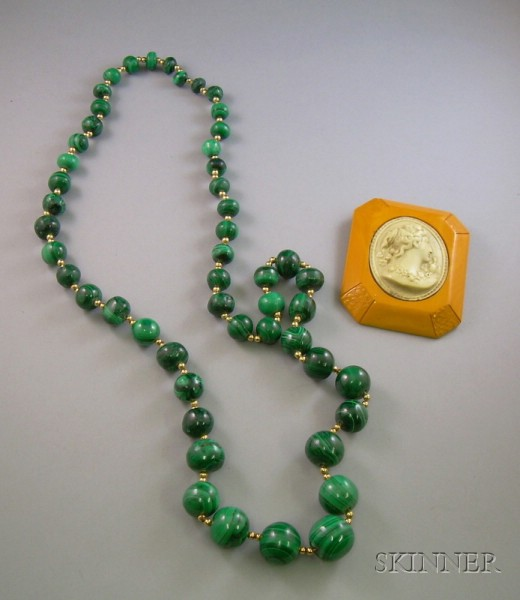 Large Bakelite Cameo Brooch and a Malachite Beaded Necklace.