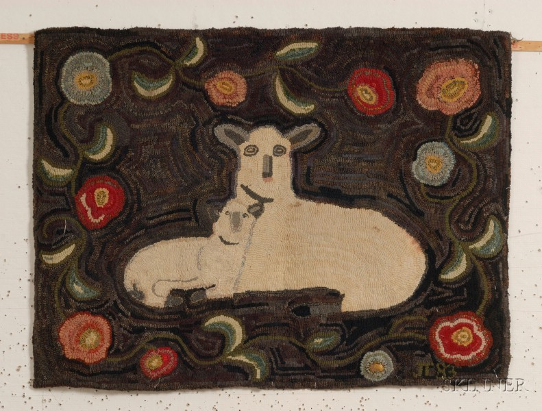 Figural Wool Hooked Rug with Sheep