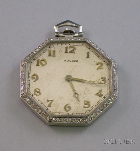 Art Deco Bulova Platinum and Diamond Octagonal Open Face 18-jewel Pocket Watch.