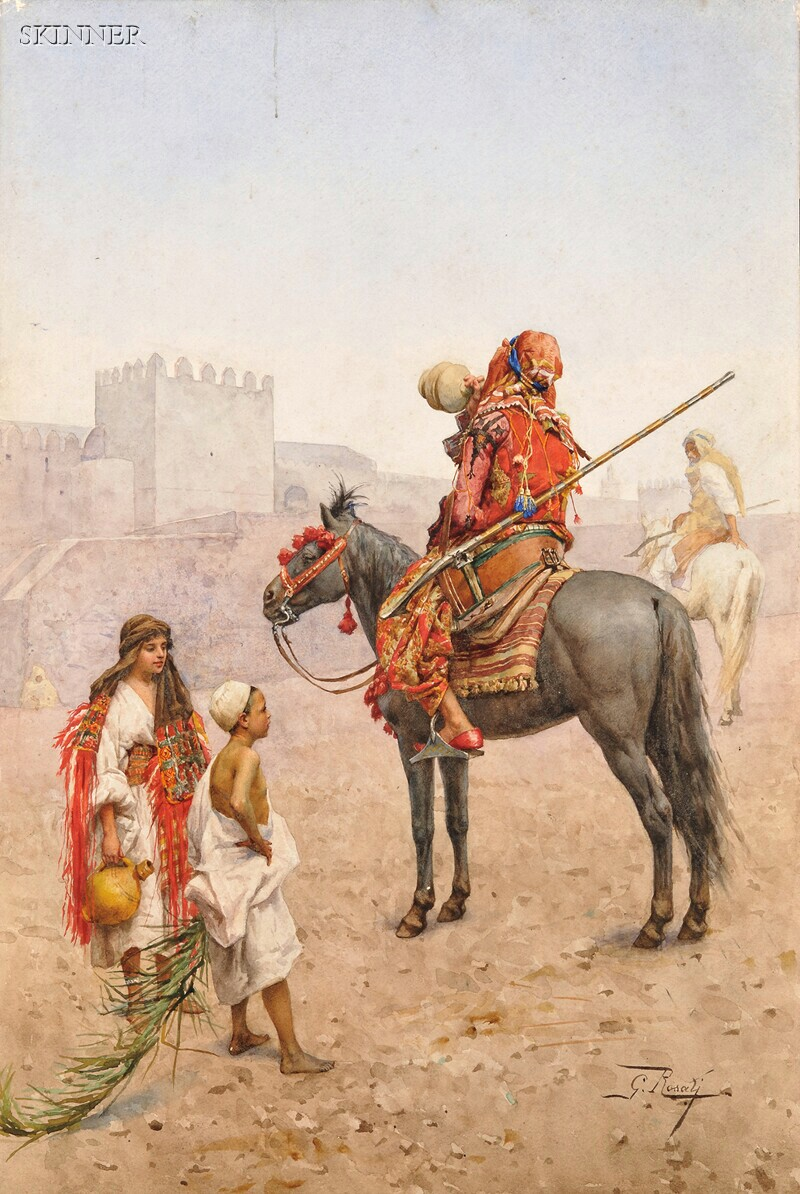 Giulio Rosati (Italian, 1858-1917)      Arab Horseman Pausing to Quench His Thirst