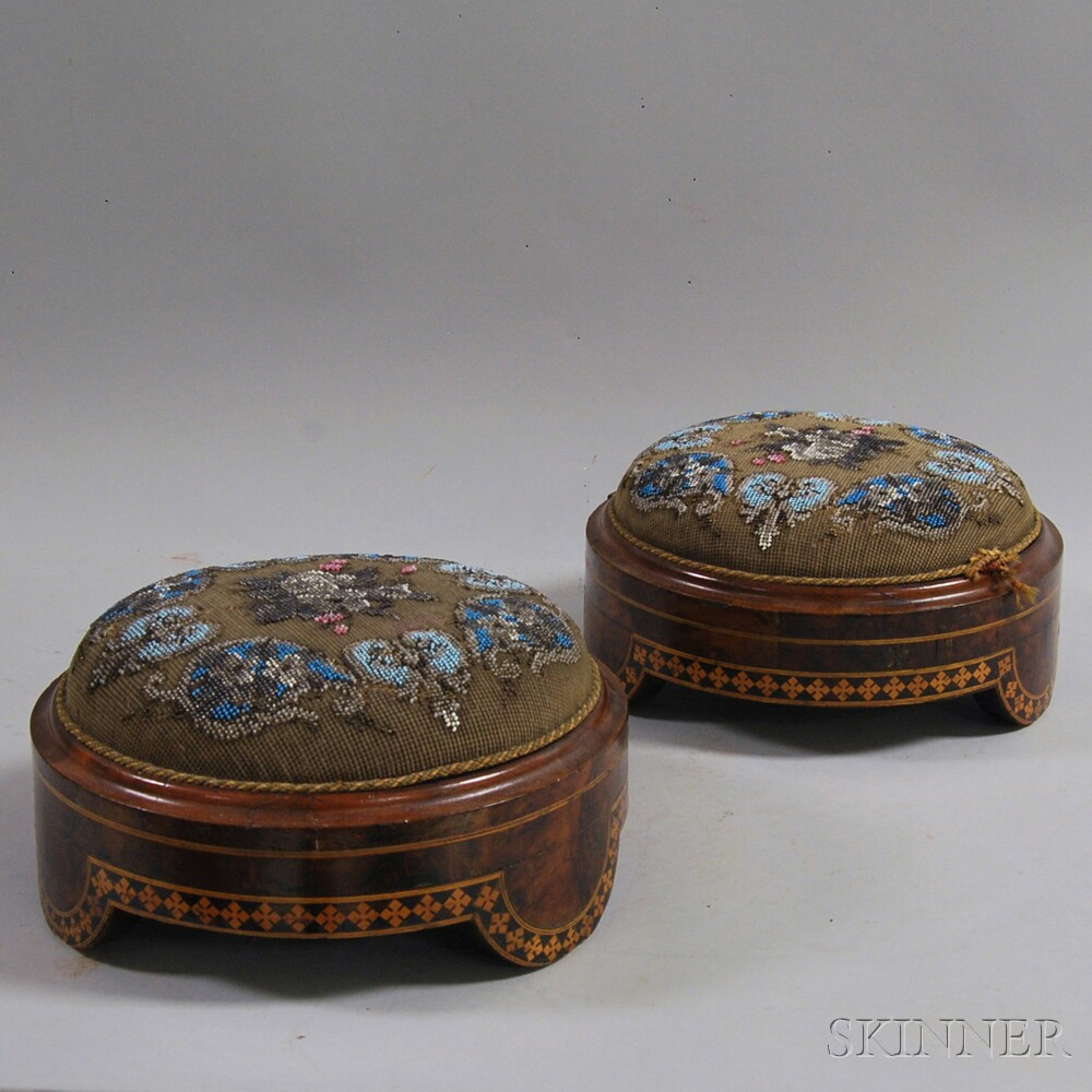 Pair of Upholstered Beaded Burl Veneer Gout Stools
